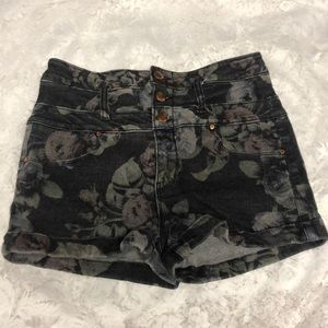 floral dark denim high-waisted shorts